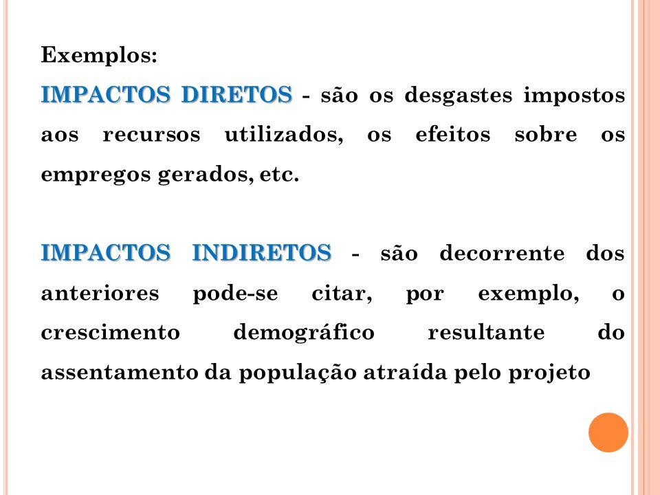 Exemplos: IMPACTOS DIRETOS IMPACTOS DIRETOS - são os desgastes impostos aos recursos utilizados, os efeitos sobre os empregos gerados, etc. IMPACTOS I