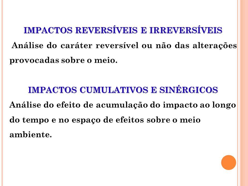 IMPACTOS REVERSÍVEIS E IRREVERSÍVEIS Análise do caráter reversível ou não das alterações provocadas sobre o meio. IMPACTOS CUMULATIVOS E SINÉRGICOS An