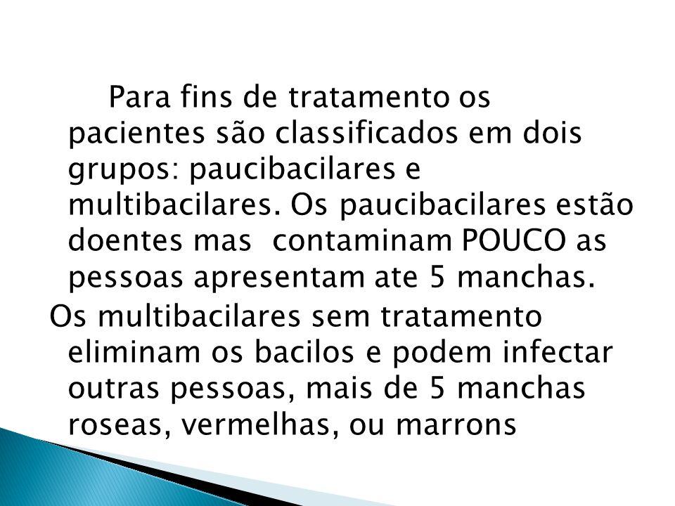 Para fins de tratamento os pacientes são classificados em dois grupos: paucibacilares e multibacilares. Os paucibacilares estão doentes mas contaminam