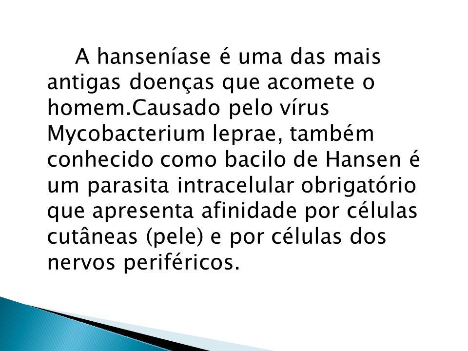 A hanseníase é uma das mais antigas doenças que acomete o homem.Causado pelo vírus Mycobacterium leprae, também conhecido como bacilo de Hansen é um parasita intracelular obrigatório que apresenta afinidade por células cutâneas (pele) e por células dos nervos periféricos.
