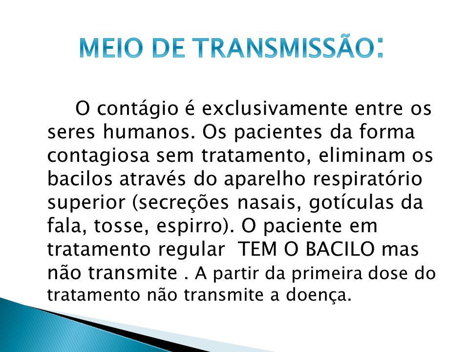 O contágio é exclusivamente entre os seres humanos. Os pacientes da forma contagiosa sem tratamento, eliminam os bacilos através do aparelho respirató