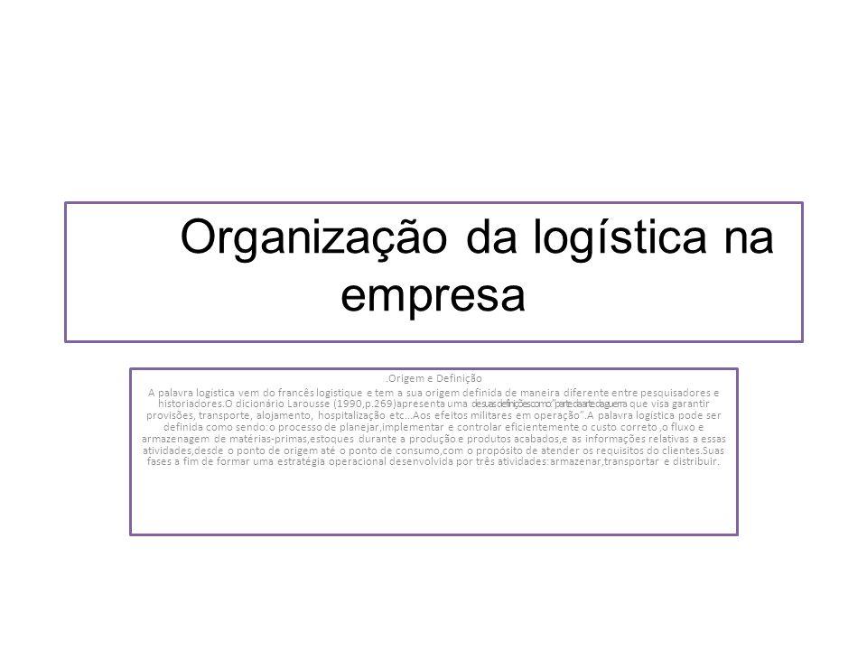 Organização da logística na empresa.Origem e Definição A palavra logística vem do francês logistique e tem a sua origem definida de maneira diferente