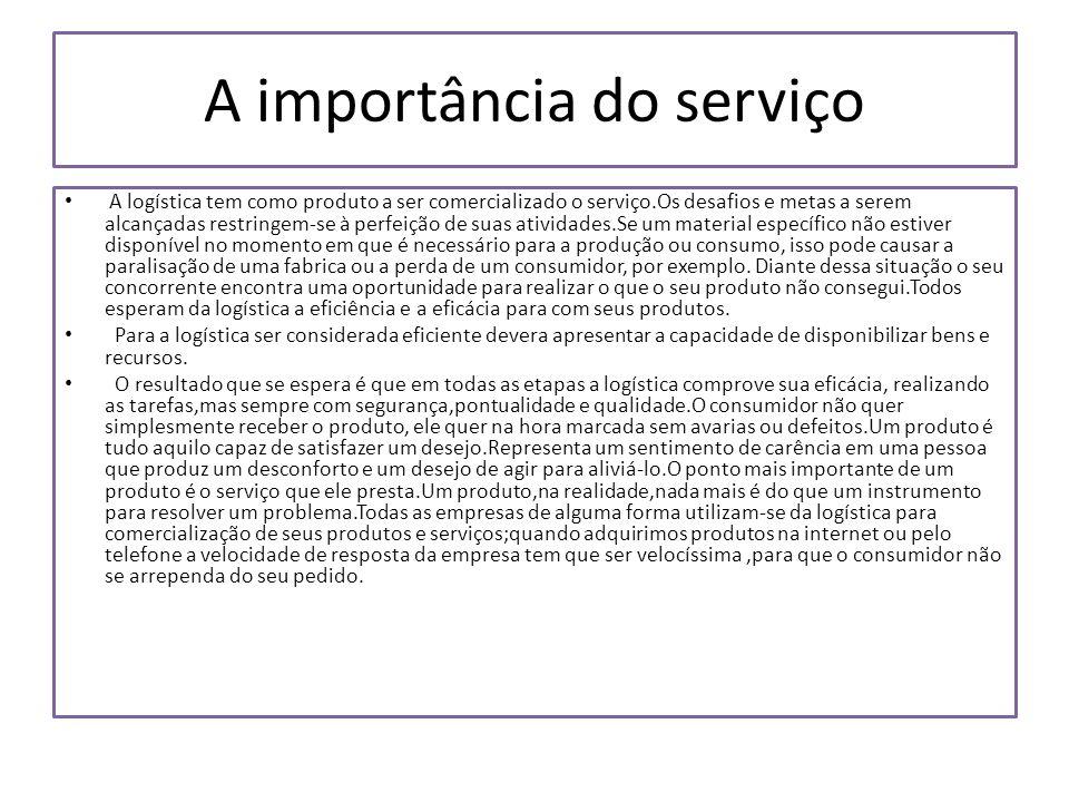 A importância do serviço A logística tem como produto a ser comercializado o serviço.Os desafios e metas a serem alcançadas restringem-se à perfeição