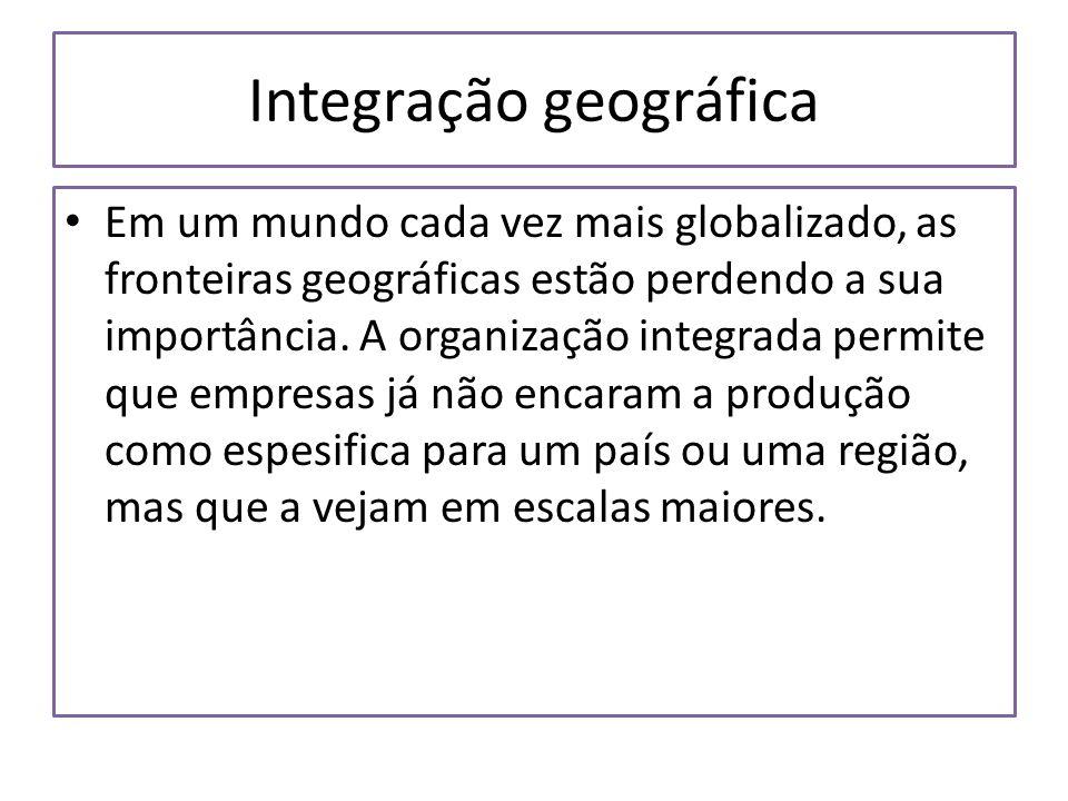 Integração geográfica Em um mundo cada vez mais globalizado, as fronteiras geográficas estão perdendo a sua importância. A organização integrada permi