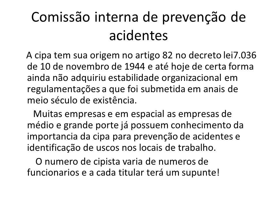 Comissão interna de prevenção de acidentes A cipa tem sua origem no artigo 82 no decreto lei7.036 de 10 de novembro de 1944 e até hoje de certa forma