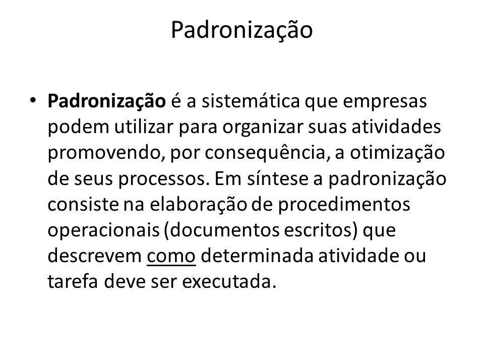 Padronização Padronização é a sistemática que empresas podem utilizar para organizar suas atividades promovendo, por consequência, a otimização de seu