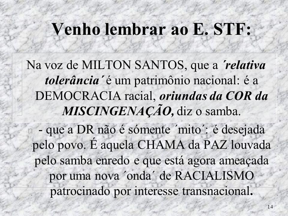 13 O que queremos garantir no STF? n Milton Santos: Reproduzir a segregação racial dos EUA me assusta...Nem vou elogiar a miscigenação em si, mas, ess