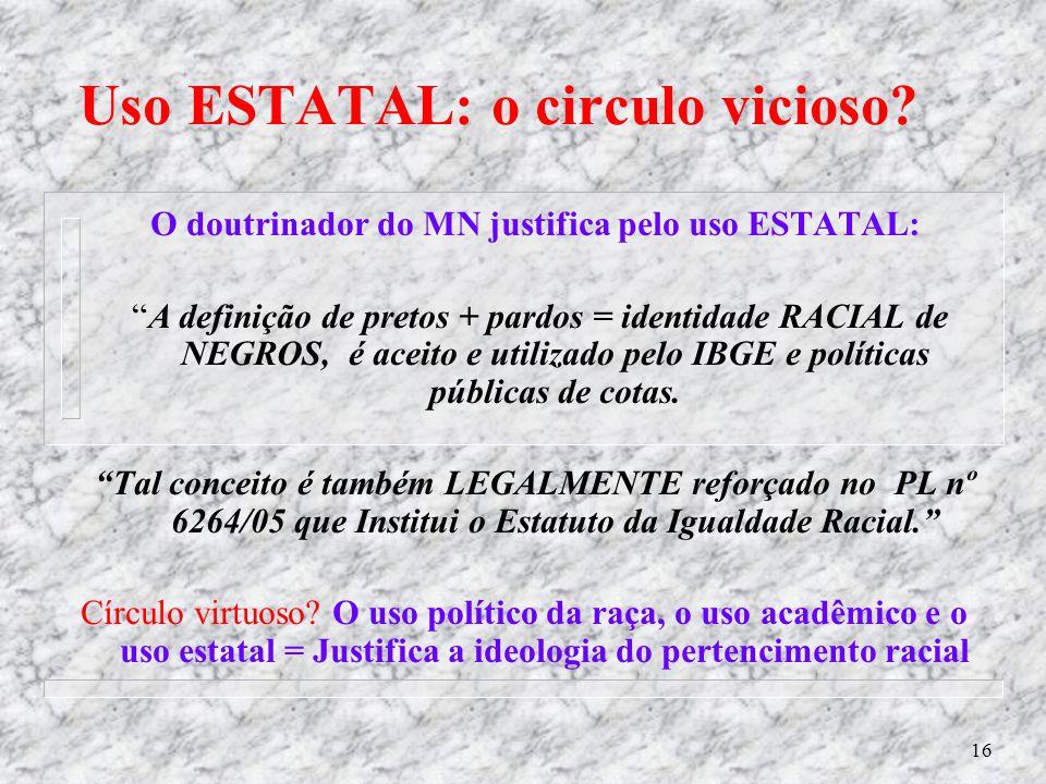 15 A equivocada doutrina Racialista por Juarez C. da Silva Jr. - 2006 - Afropress n Diz: É que o MN utiliza critérios do discriminador, o antídoto do