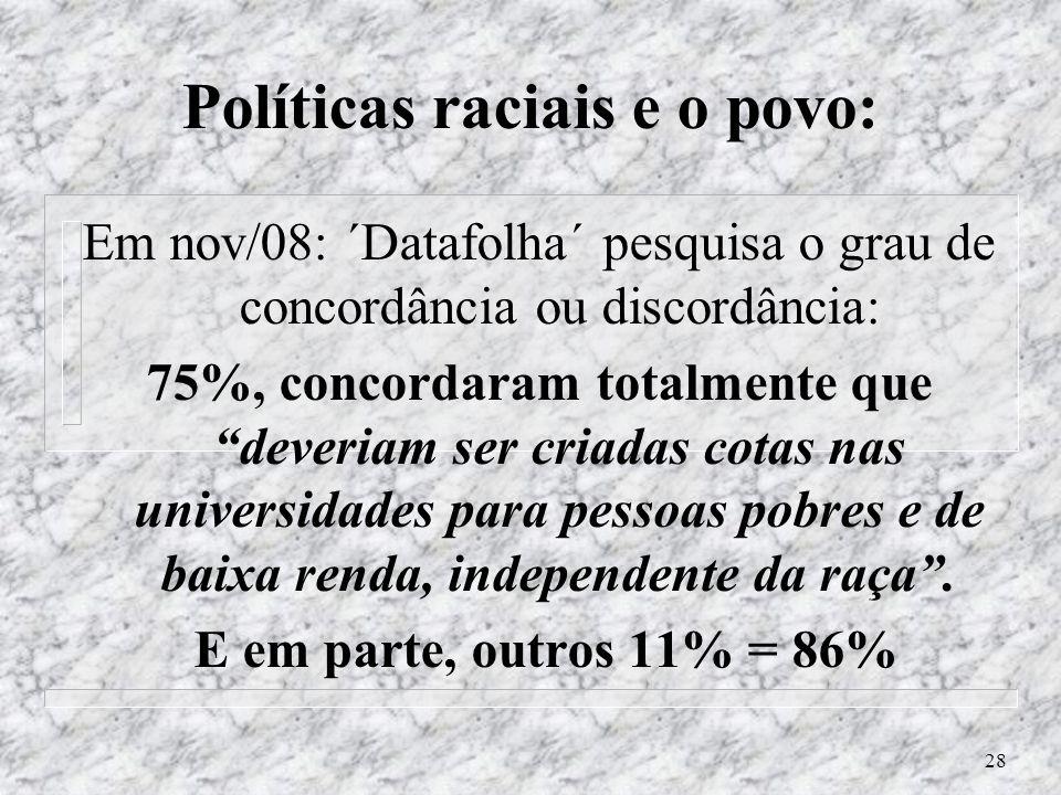 27 - Não professamos a ´raça´: n Brasileiros não reconhecem sua identidade racial (Ass. Comunic. UNB) – agosto 2009: n Tese de doutorado - UNB - Dpto
