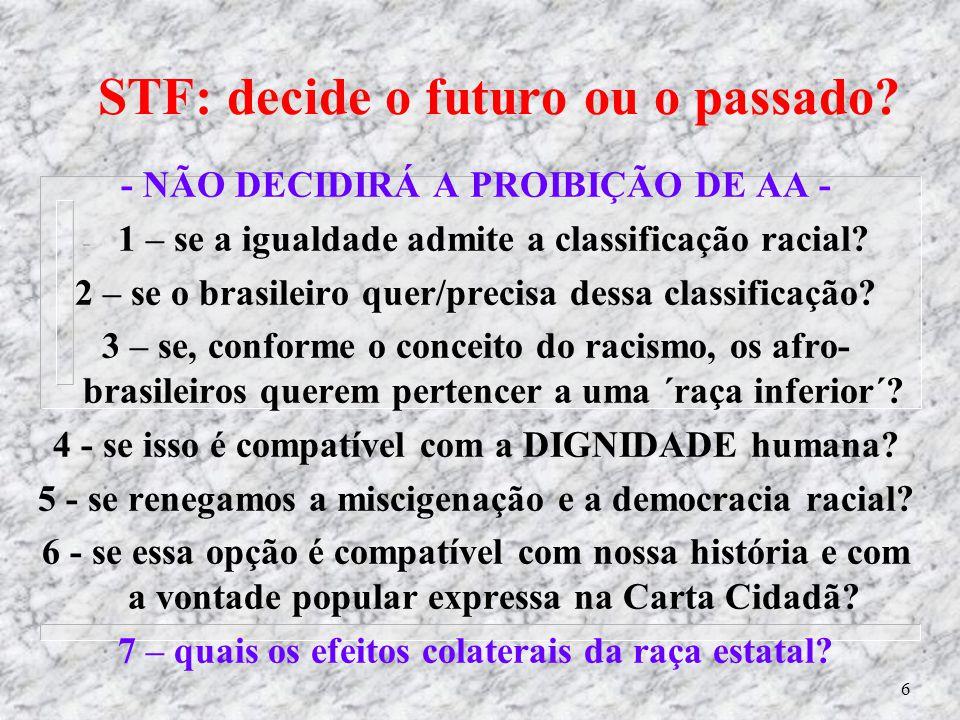 6 - NÃO DECIDIRÁ A PROIBIÇÃO DE AA - - 1 – se a igualdade admite a classificação racial.