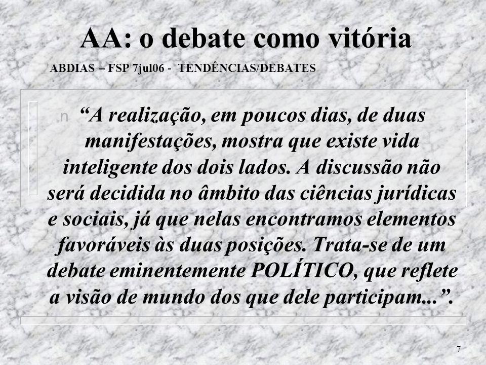 7 AA: o debate como vitória ABDIAS – FSP 7jul06 - TENDÊNCIAS/DEBATES n A realização, em poucos dias, de duas manifestações, mostra que existe vida inteligente dos dois lados.