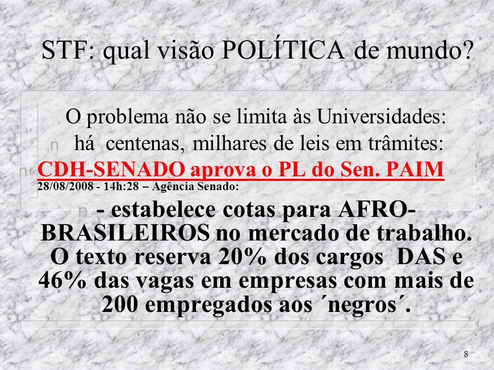 8 STF: qual visão POLÍTICA de mundo.