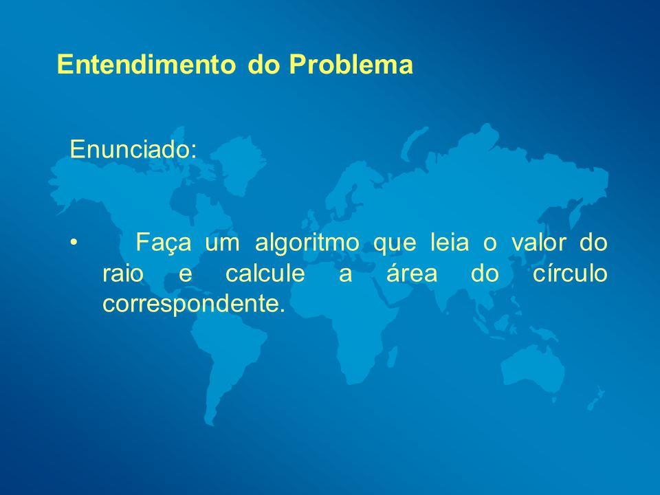 Entendimento do Problema Dos tempos de escola lembramos que o cálculo da área de um círculo é dado pela fórmula Pi*Raio².