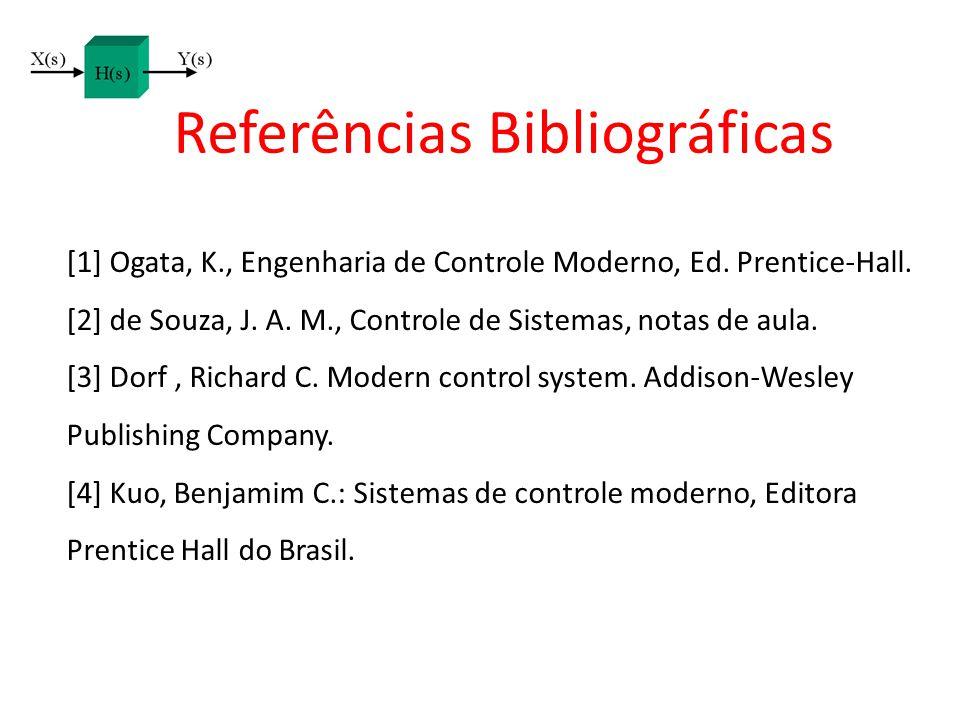 Referências Bibliográficas [1] Ogata, K., Engenharia de Controle Moderno, Ed. Prentice-Hall. [2] de Souza, J. A. M., Controle de Sistemas, notas de au