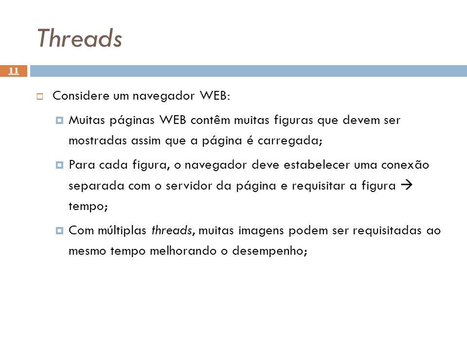 Threads 11 Considere um navegador WEB: Muitas páginas WEB contêm muitas figuras que devem ser mostradas assim que a página é carregada; Para cada figu