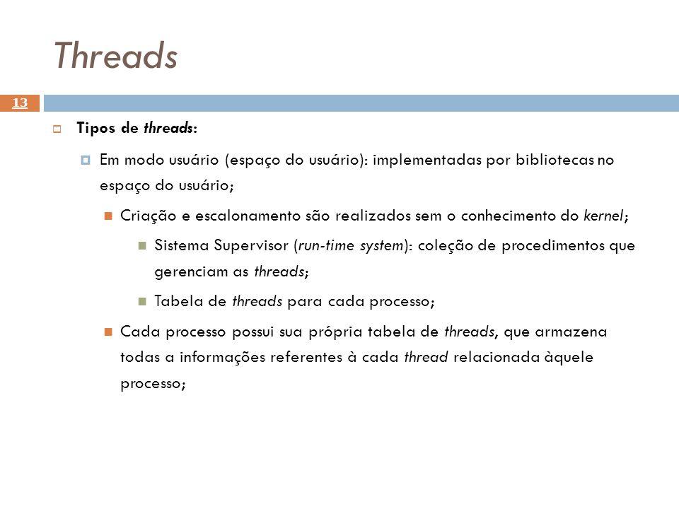 Threads 13 Tipos de threads: Em modo usuário (espaço do usuário): implementadas por bibliotecas no espaço do usuário; Criação e escalonamento são real