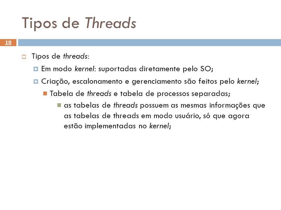 Tipos de Threads 18 Tipos de threads: Em modo kernel: suportadas diretamente pelo SO; Criação, escalonamento e gerenciamento são feitos pelo kernel; T