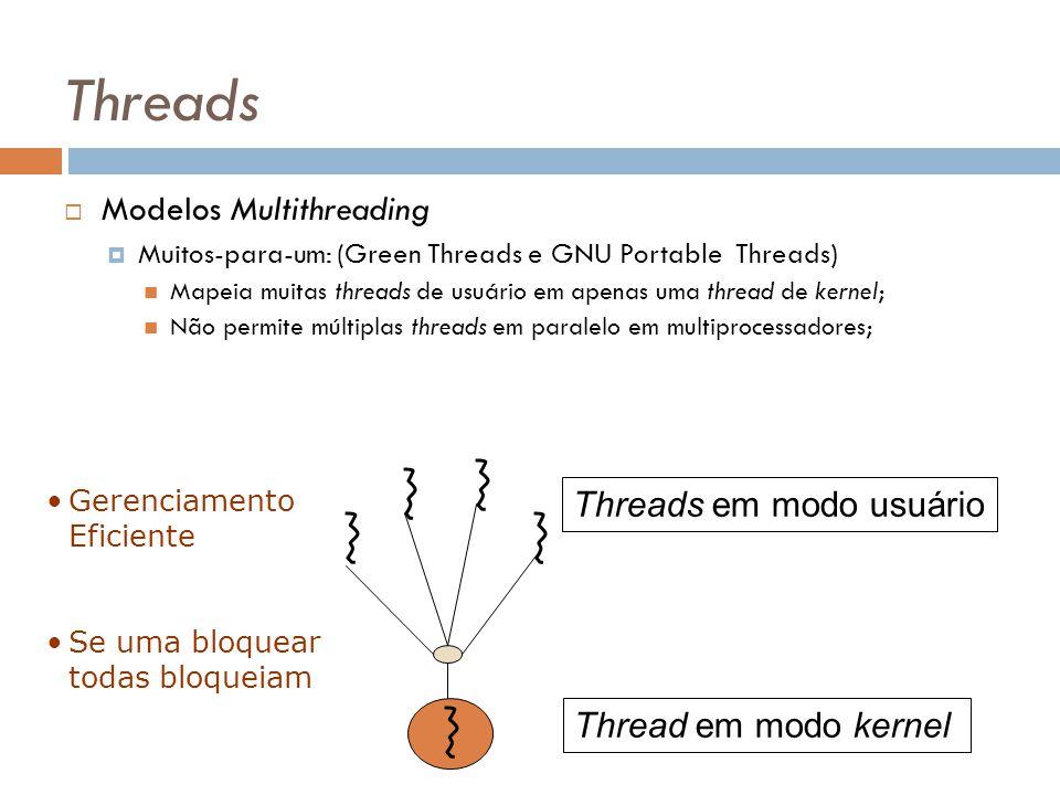 Threads Modelos Multithreading Muitos-para-um: (Green Threads e GNU Portable Threads) Mapeia muitas threads de usuário em apenas uma thread de kernel;