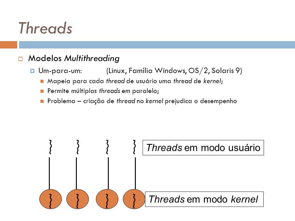 Threads Modelos Multithreading Um-para-um:(Linux, Família Windows, OS/2, Solaris 9) Mapeia para cada thread de usuário uma thread de kernel; Permite m