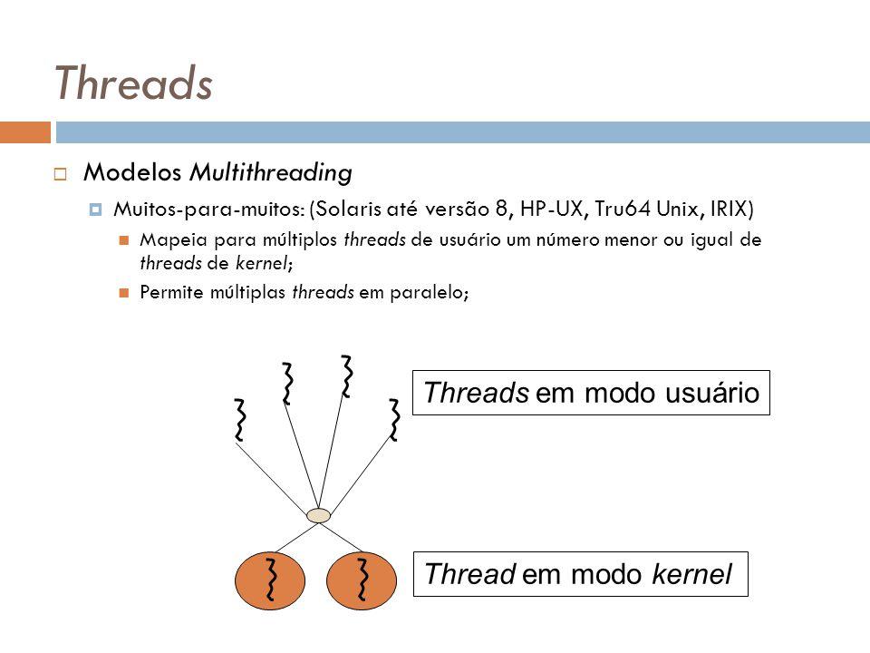 Threads Modelos Multithreading Muitos-para-muitos: (Solaris até versão 8, HP-UX, Tru64 Unix, IRIX) Mapeia para múltiplos threads de usuário um número