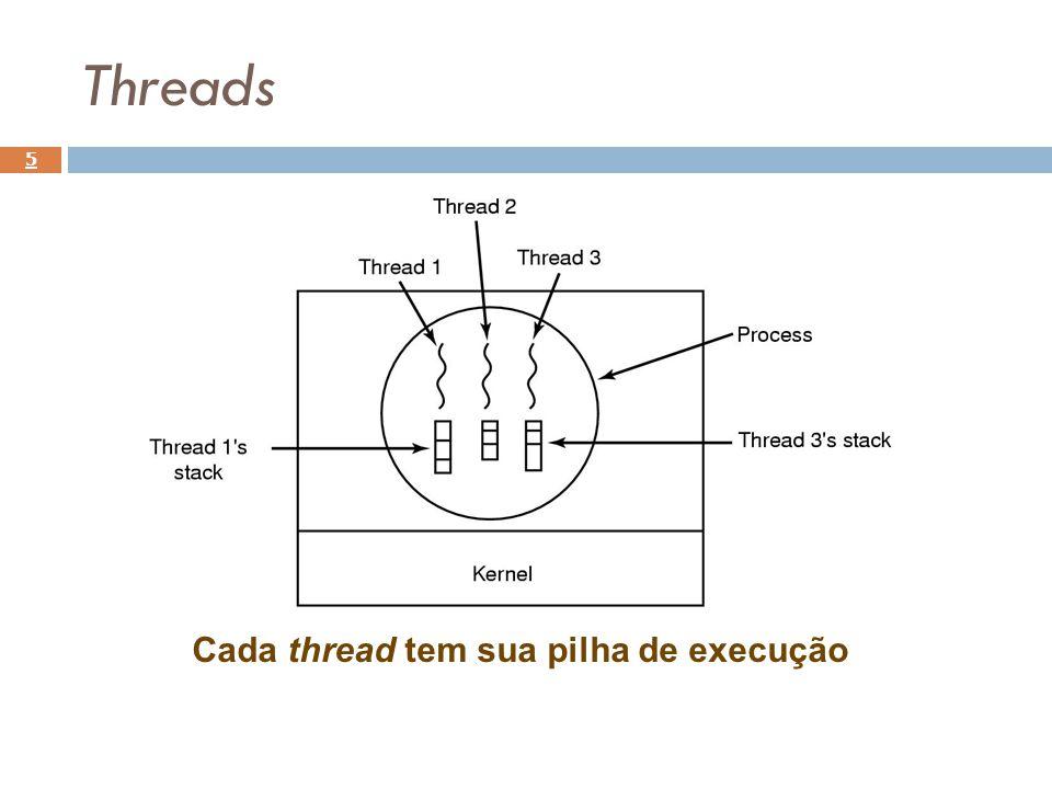 Implementação de threads 16 Implementação em espaço de usuário: Problemas: Como permitir chamadas bloqueantes se as chamadas ao sistema são bloqueantes e essa chamada irá bloquear todas as threads.