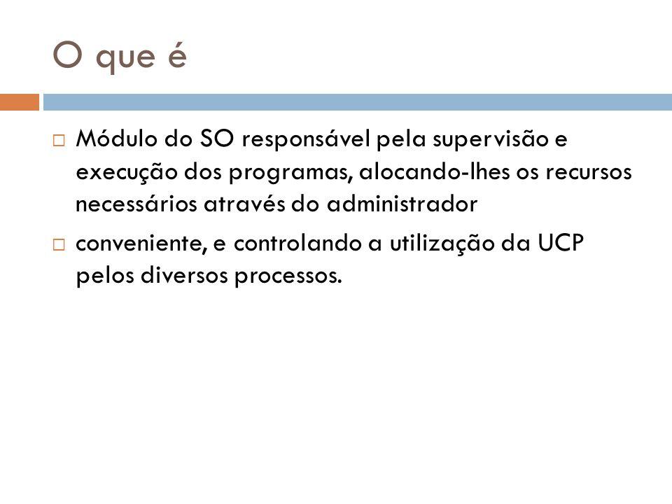 O que é Módulo do SO responsável pela supervisão e execução dos programas, alocando-lhes os recursos necessários através do administrador conveniente, e controlando a utilização da UCP pelos diversos processos.