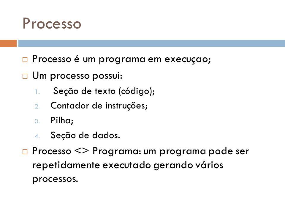 Processo Processo é um programa em execuçao; Um processo possui: 1.