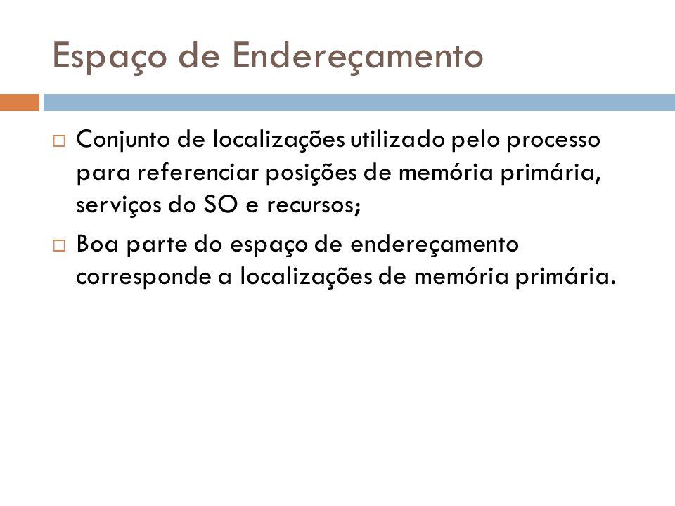 Espaço de Endereçamento Conjunto de localizações utilizado pelo processo para referenciar posições de memória primária, serviços do SO e recursos; Boa parte do espaço de endereçamento corresponde a localizações de memória primária.
