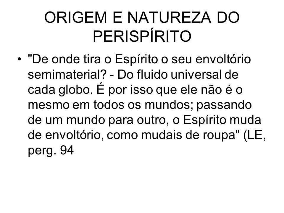 ORIGEM E NATUREZA DO PERISPÍRITO De onde tira o Espírito o seu envoltório semimaterial.