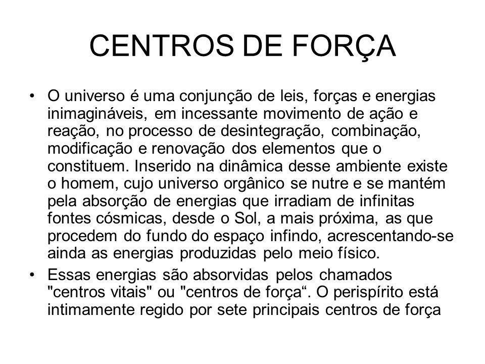 CENTROS DE FORÇA O universo é uma conjunção de leis, forças e energias inimagináveis, em incessante movimento de ação e reação, no processo de desintegração, combinação, modificação e renovação dos elementos que o constituem.