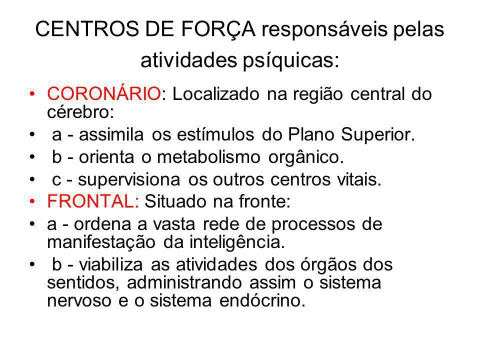 CENTROS DE FORÇA responsáveis pelas atividades psíquicas: CORONÁRIO: Localizado na região central do cérebro: a - assimila os estímulos do Plano Superior.