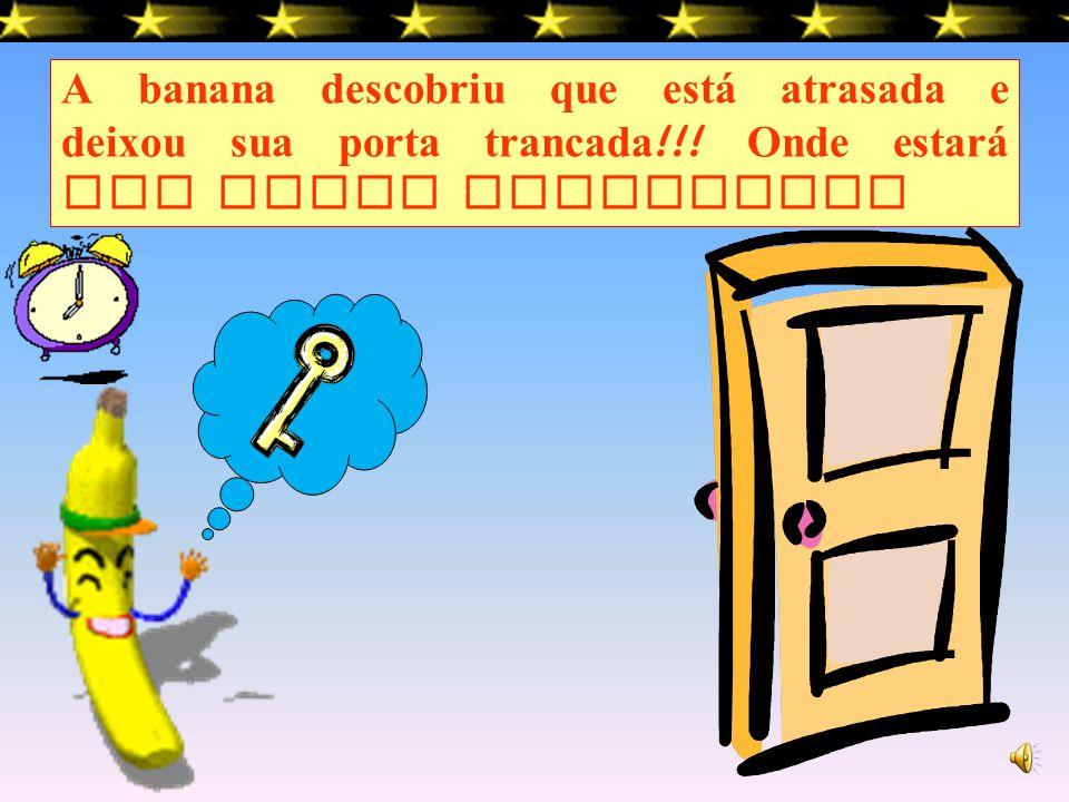 TRIM ! TRIM ! TRIM ! O telefone est á a tocar, a banana não sabe onde encontrar, uma dica eu vou dar, ele é da cor da banana, pintado de amarelo est á