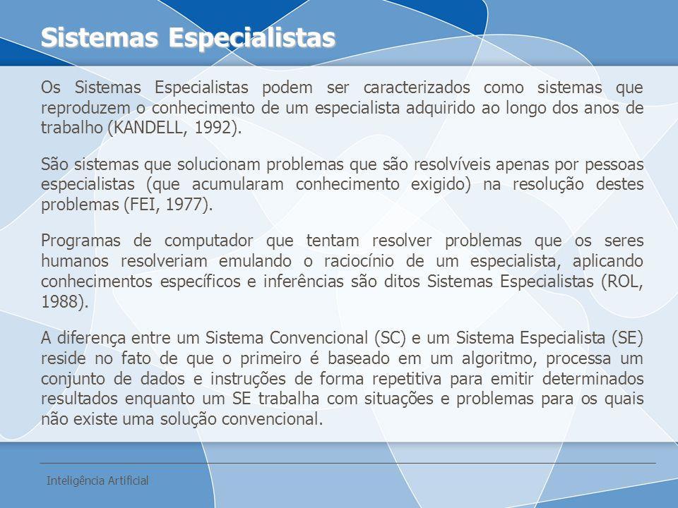 Os Sistemas Especialistas podem ser caracterizados como sistemas que reproduzem o conhecimento de um especialista adquirido ao longo dos anos de traba