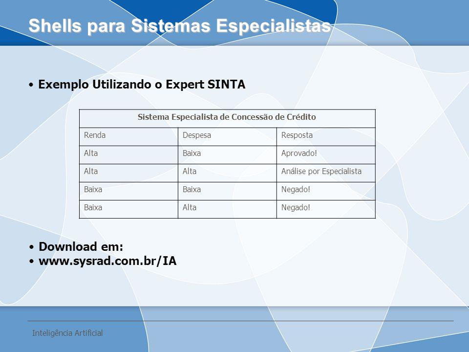 Exemplo Utilizando o Expert SINTA Shells para Sistemas Especialistas Inteligência Artificial Sistema Especialista de Concessão de Crédito RendaDespesa