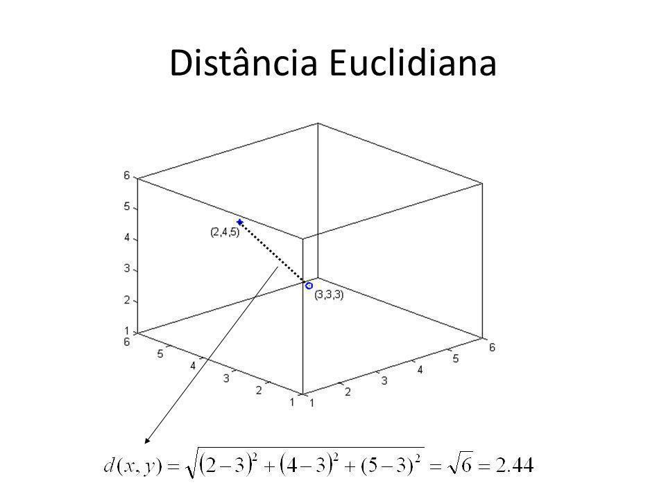 k-NN: Um Exemplo 1 2 3 4 5 6 7 8 1 2 3 4 A qual classe pertence este ponto.