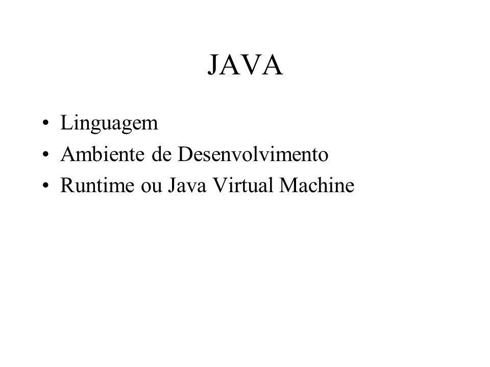 JAVA Linguagem Ambiente de Desenvolvimento Runtime ou Java Virtual Machine