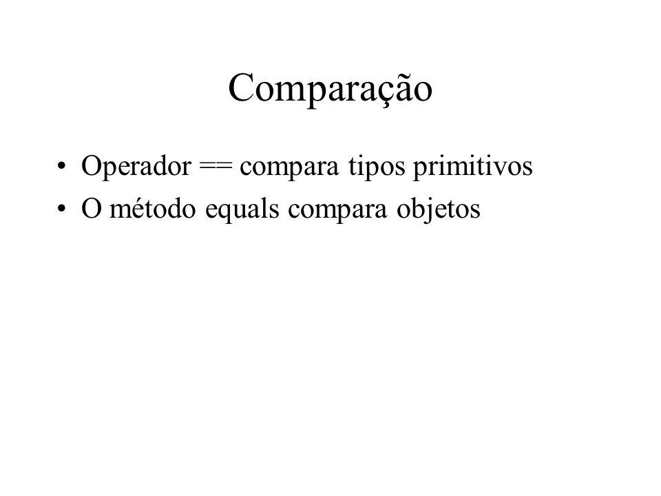 Comparação Operador == compara tipos primitivos O método equals compara objetos