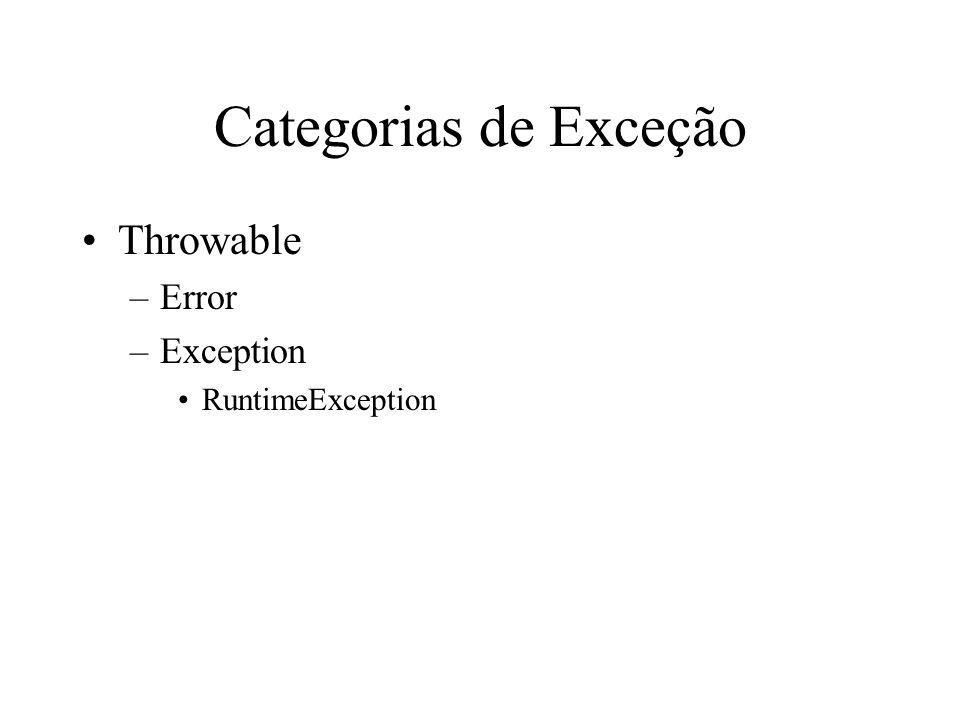Categorias de Exceção Throwable –Error –Exception RuntimeException