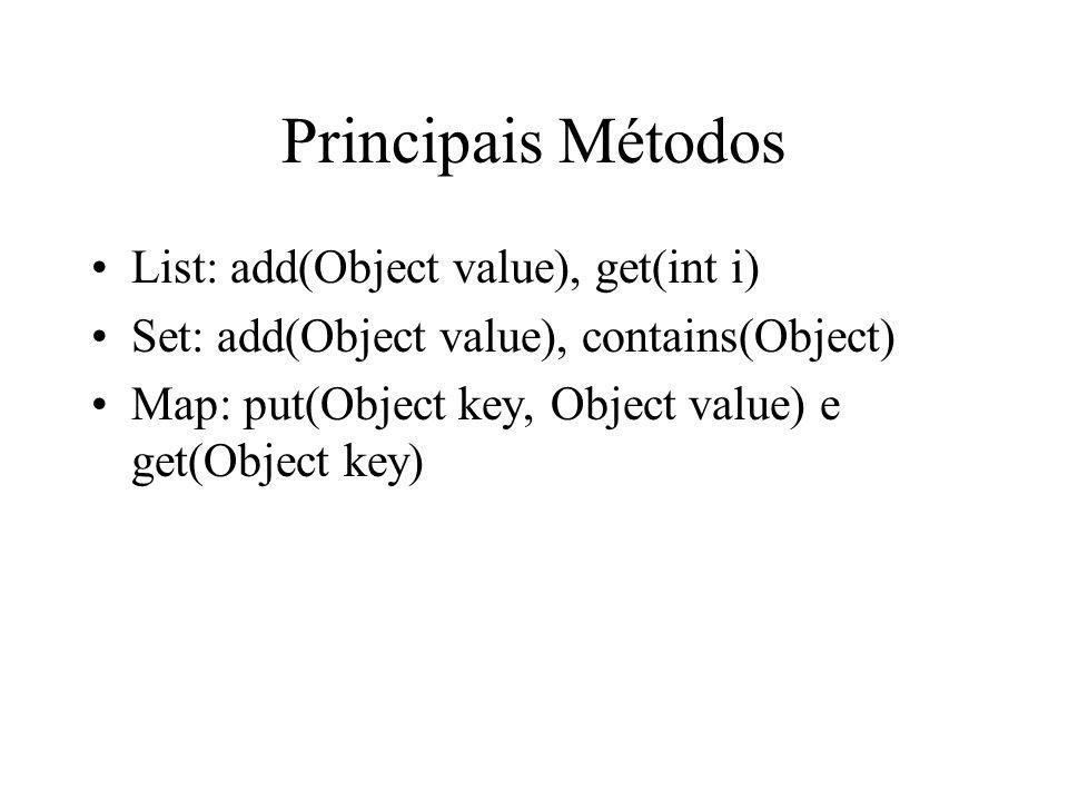 Principais Métodos List: add(Object value), get(int i) Set: add(Object value), contains(Object) Map: put(Object key, Object value) e get(Object key)