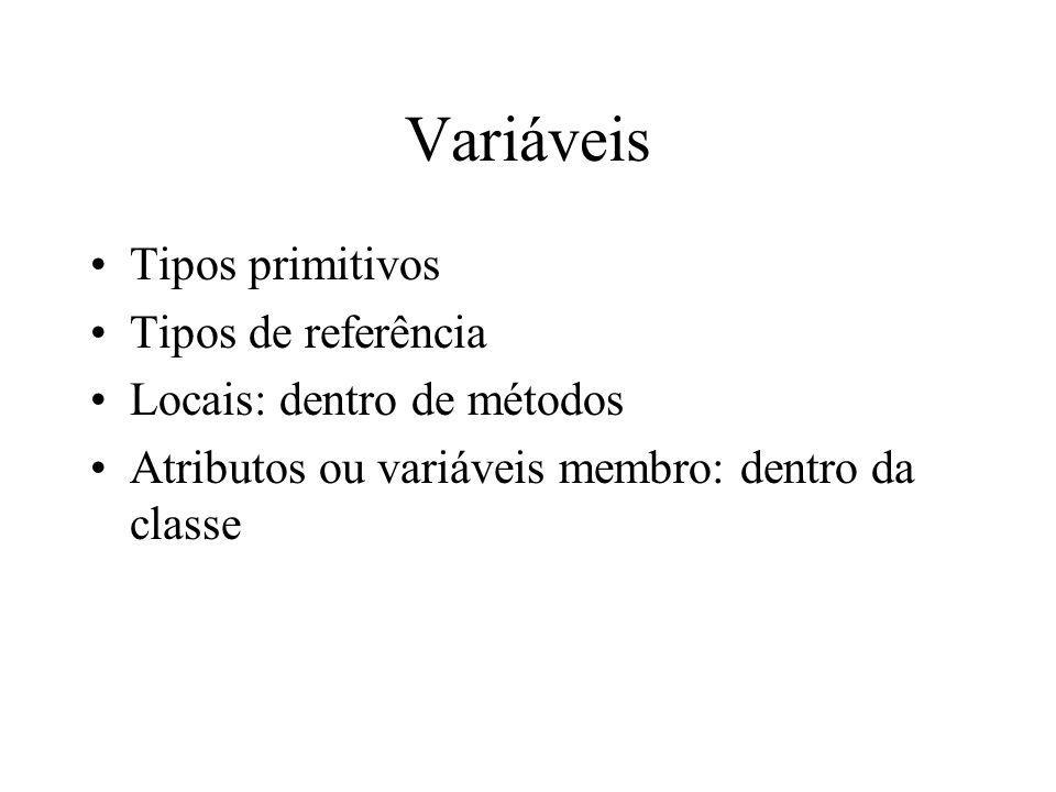 Variáveis Tipos primitivos Tipos de referência Locais: dentro de métodos Atributos ou variáveis membro: dentro da classe