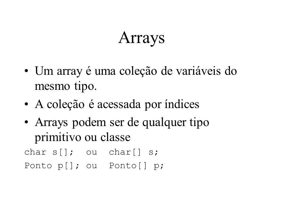 Arrays Um array é uma coleção de variáveis do mesmo tipo. A coleção é acessada por índices Arrays podem ser de qualquer tipo primitivo ou classe char
