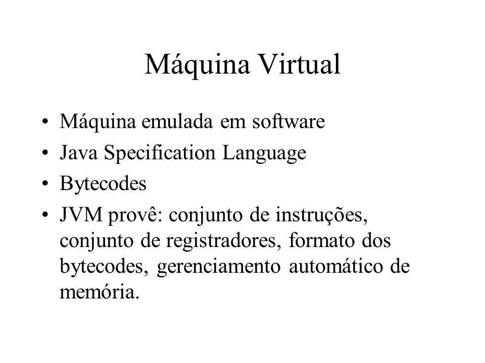 Máquina Virtual Máquina emulada em software Java Specification Language Bytecodes JVM provê: conjunto de instruções, conjunto de registradores, format