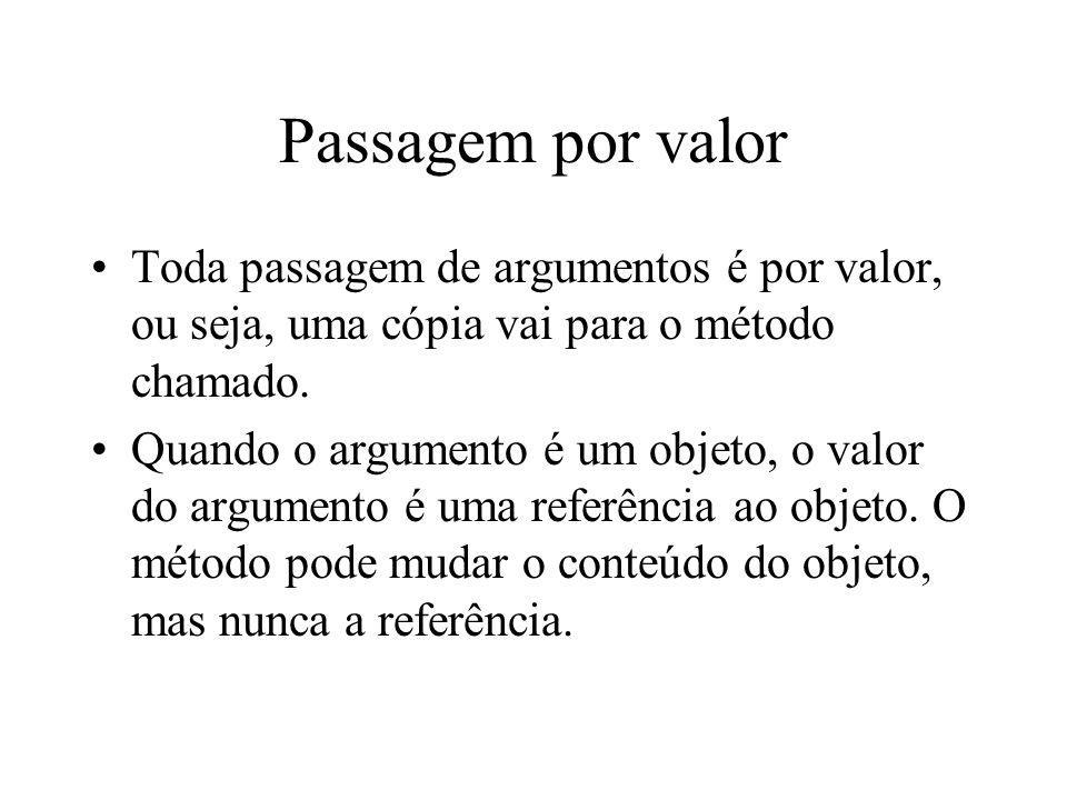 Passagem por valor Toda passagem de argumentos é por valor, ou seja, uma cópia vai para o método chamado. Quando o argumento é um objeto, o valor do a