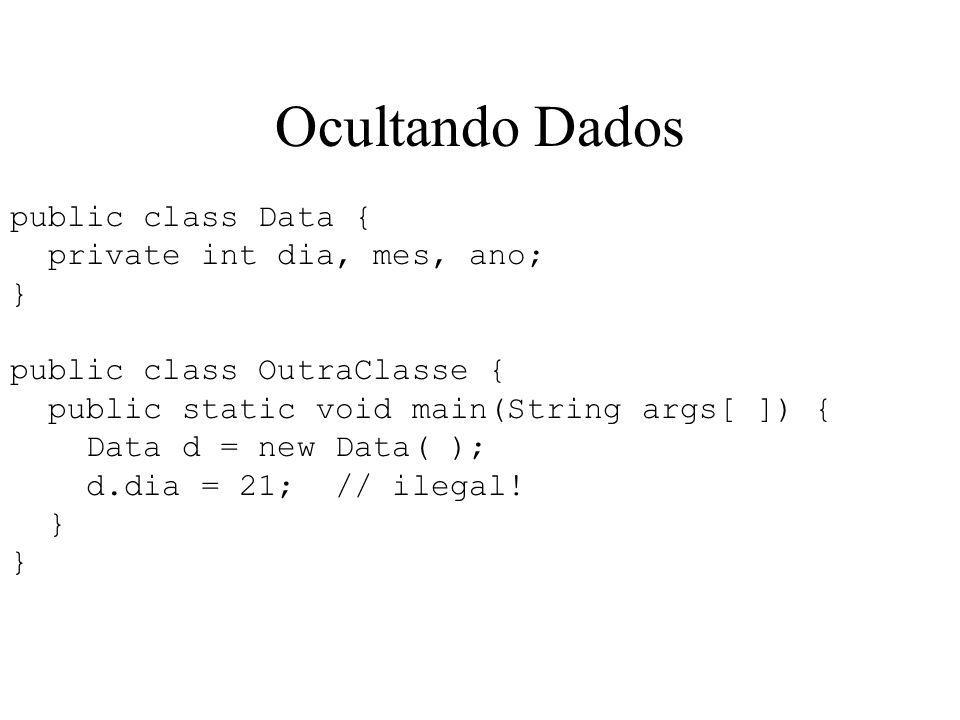 Ocultando Dados public class Data { private int dia, mes, ano; } public class OutraClasse { public static void main(String args[ ]) { Data d = new Data( ); d.dia = 21; // ilegal.