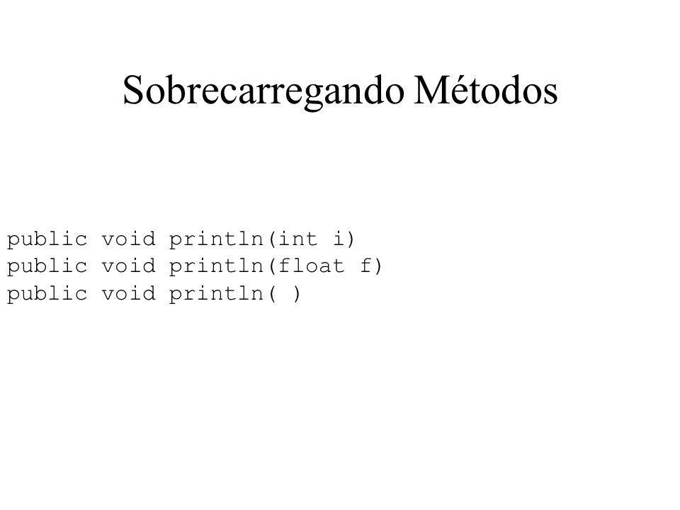 Sobrecarregando Métodos public void println(int i) public void println(float f) public void println( )