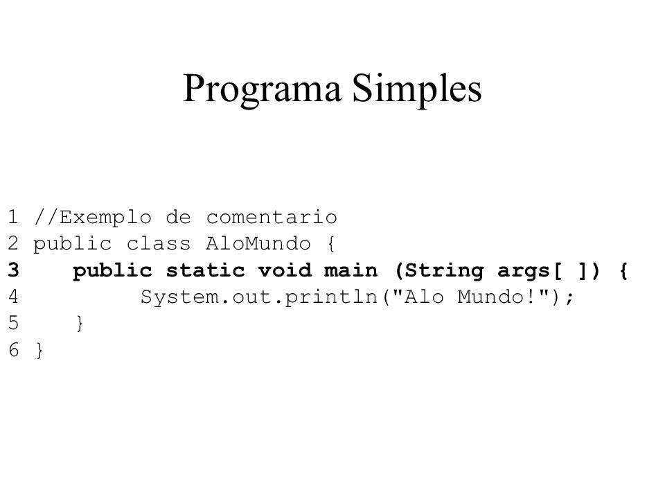 Programa Simples 1 //Exemplo de comentario 2 public class AloMundo { 3public static void main (String args[ ]) { 4System.out.println(