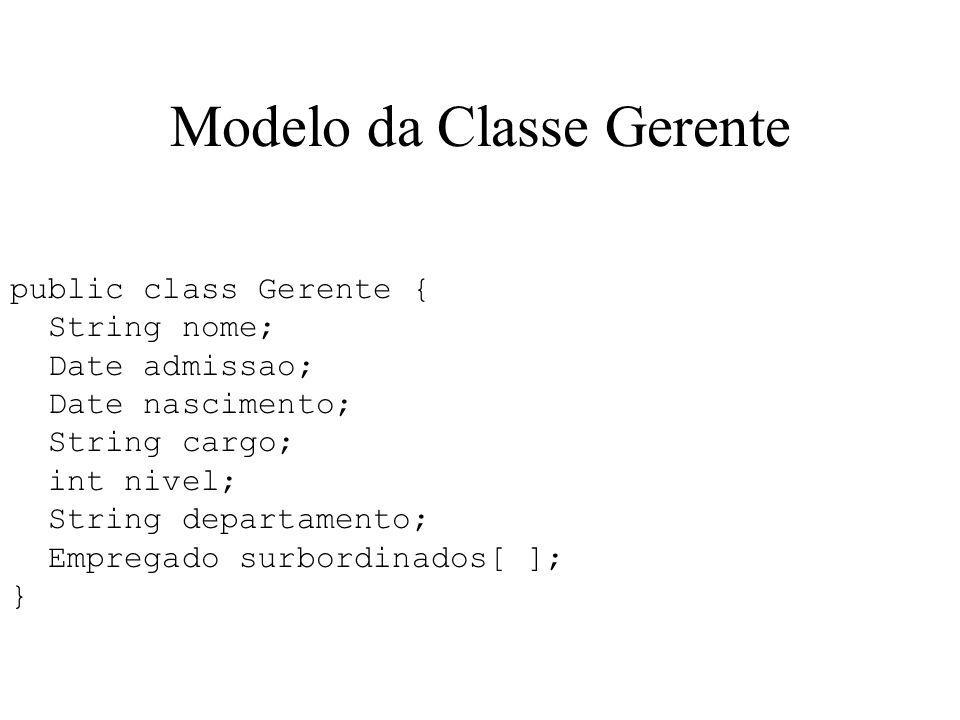 Modelo da Classe Gerente public class Gerente { String nome; Date admissao; Date nascimento; String cargo; int nivel; String departamento; Empregado s