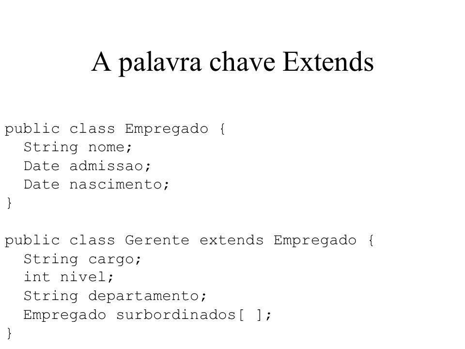 A palavra chave Extends public class Empregado { String nome; Date admissao; Date nascimento; } public class Gerente extends Empregado { String cargo;