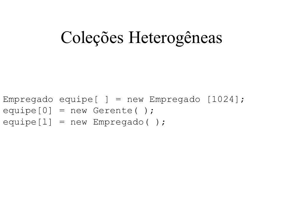 Coleções Heterogêneas Empregado equipe[ ] = new Empregado [1024]; equipe[0] = new Gerente( ); equipe[l] = new Empregado( );