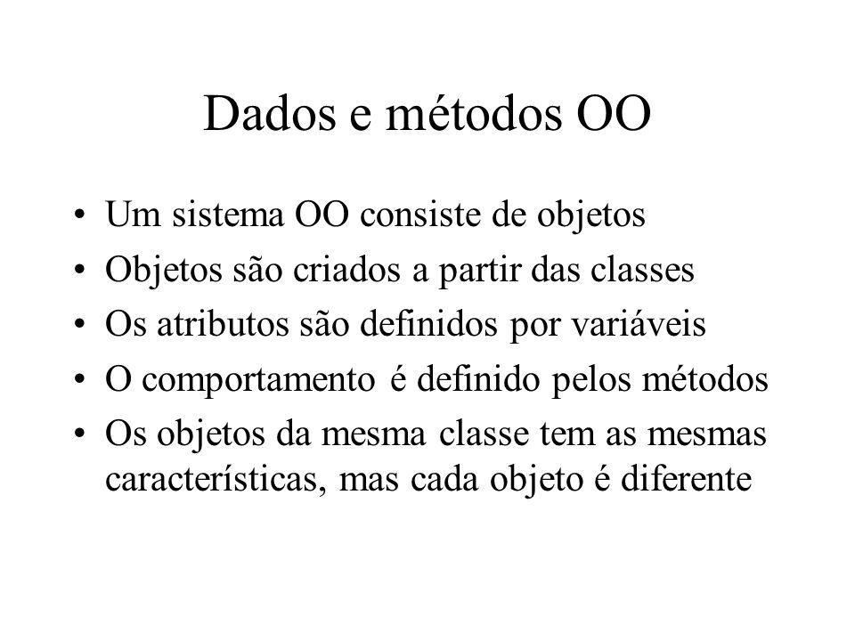 Dados e métodos OO Um sistema OO consiste de objetos Objetos são criados a partir das classes Os atributos são definidos por variáveis O comportamento